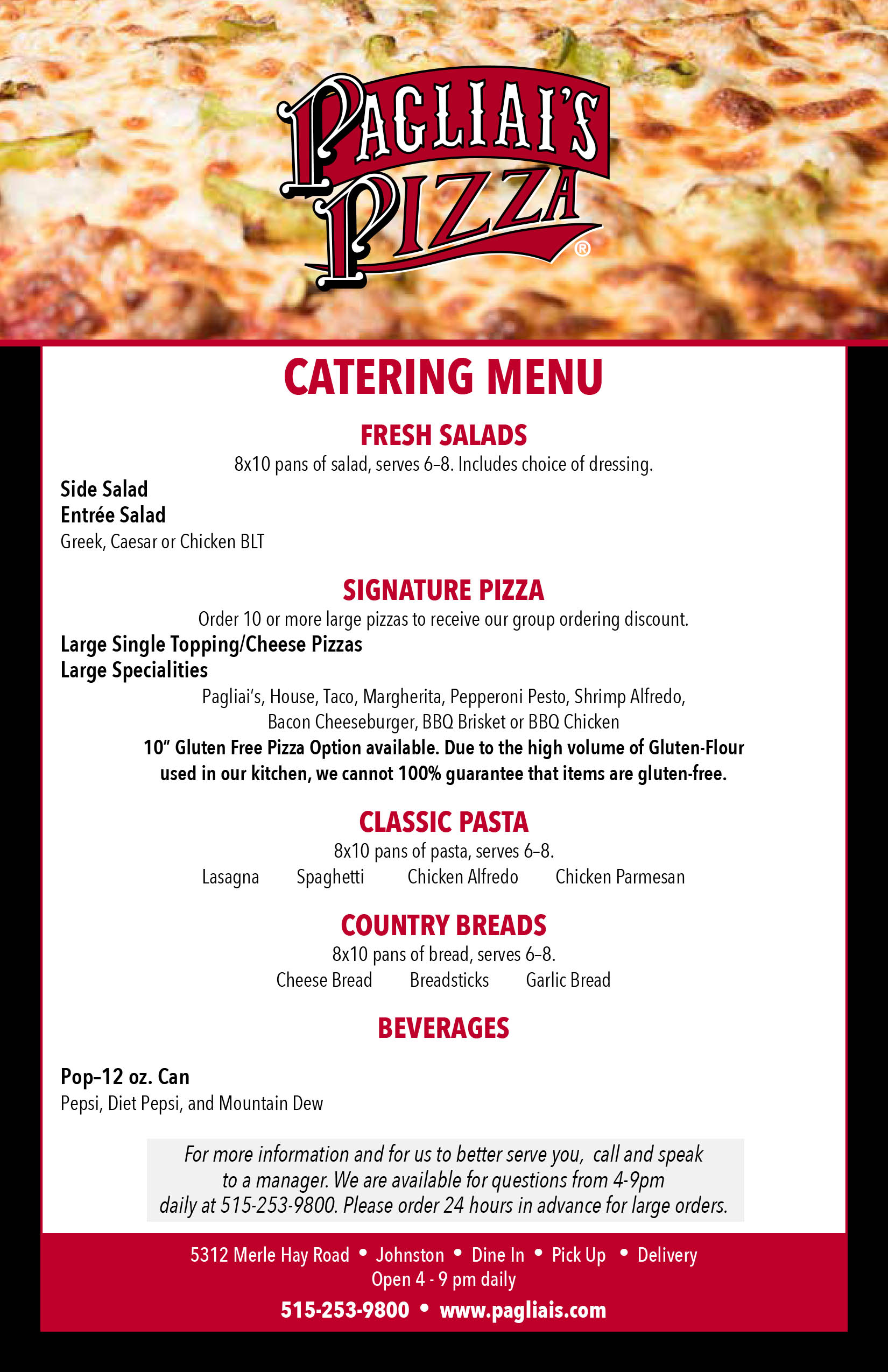 Pagliai's catering menu